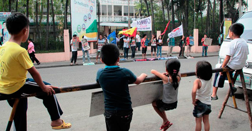 Children taking a stand