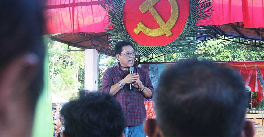 Government of the Republic of the Philippines peace panel chief negotiator Silvestre Bello III attends the celebration of the Communist Party of the Philippines' 48th anniversary here on Monday, Dec. 26. (Earl O. Condeza/davaotoday.com)