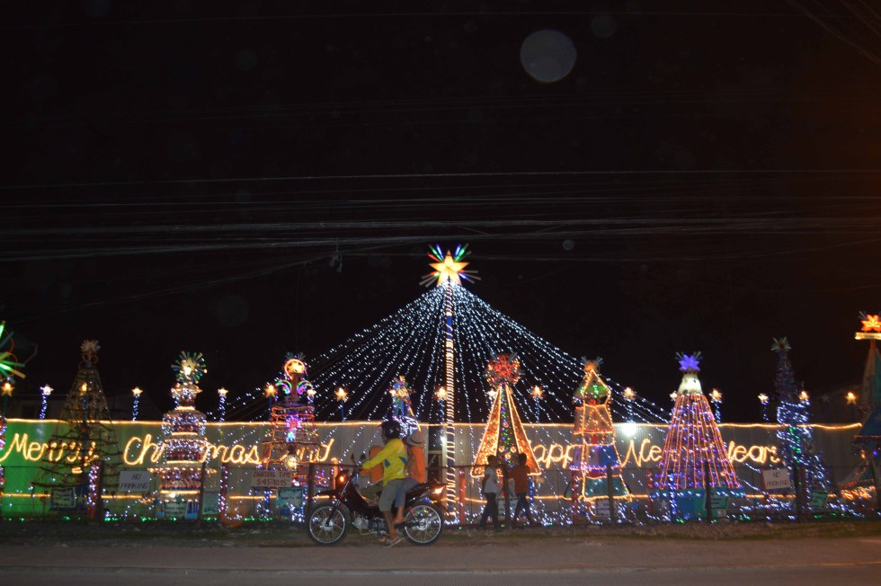 Christmas lights adorn the street of R. Castillo in Agdao, Davao City and is an added attraction for residents and motorists. (Medel V. Hernani/davaotoday.com)