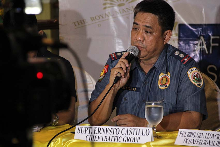 LOW APPREHENSION. Supt. Ernesto Castillo, chief of the Davao City Police Traffic Group says the noted decrease of speeding apprehensions in the city in 2016 is due to the fact that there are only two functioning speed guns left in their possession. Castillo said they have already requested for five additional speed guns to the office of the city mayor. (Paulo C. Rizal/davaotoday.com)