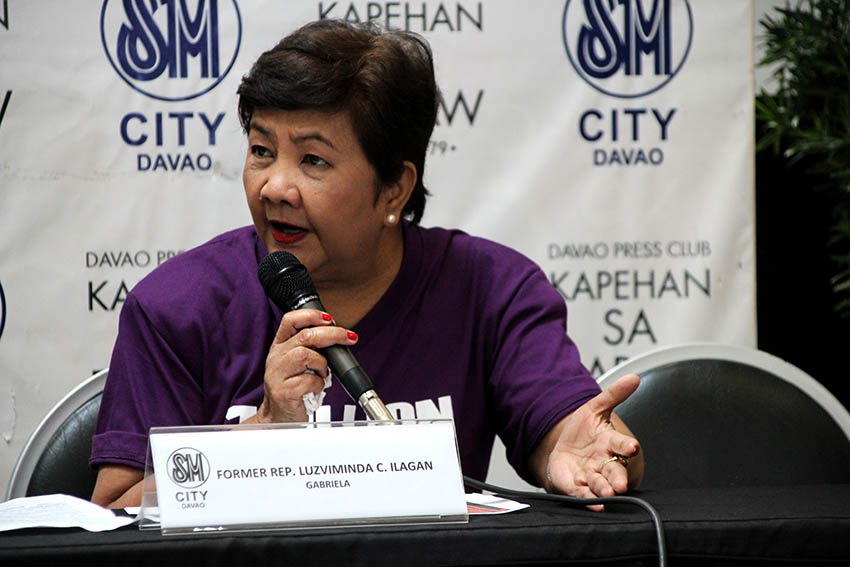 Luzviminda Ilagan, former representative of Gabriela women's party encouraged the people to support the entire movement to bring change on people's perspective about violence not only to women.  PHOTO: JAYCEL VILLACORTE