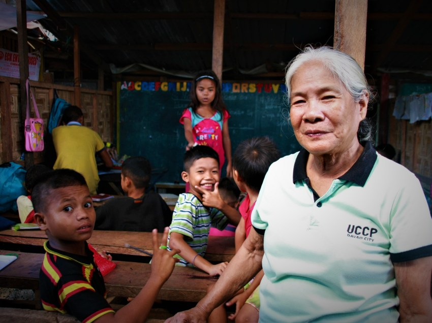 Retired teacher finds fulfillment in holding classes for Lumad children in evacuation camp