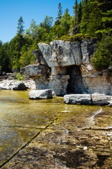 The rocky shore of Flowerpot Island.