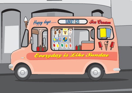 A cartoon ice cream van