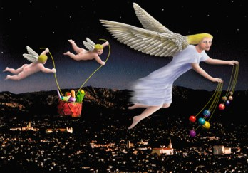 The Archangel of Mirth with holiday goodies over Santa Barbara