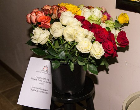 Roses for cast and crew from OSB Artistic Director Kostis Protopapas.