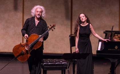 CAMA Santa Barbara - Mischa and Lily Maisky take a well deserved bow 5/12/16 Lobero Theatre