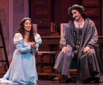 "The big aria: Lauretta (Monica Yunus) pleads with father Giannin Schicchi (Stephano de Peppo) in Opera Santa Barbara's Giannin Schicchi"" 4/20/16 Granada Theatre"