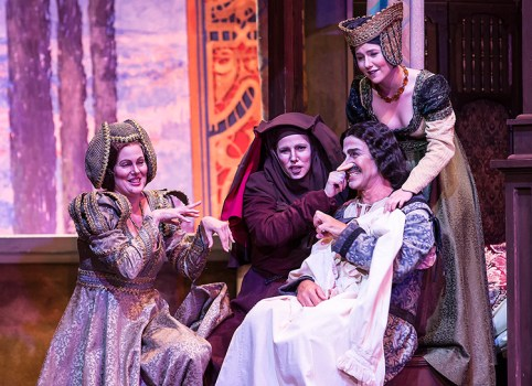 "Gianni is acclaimed savior of the family fortune in The big aria: Lauretta (Monica Yunus) pleads with father Giannin Schicchi (Stephano de Peppo) in Opera Santa Barbara's Giannin Schicchi"" 4/20/16 Granada Theatre"