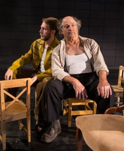 """Chris Wagstaffe (Jim O'Conner) & Stan Hoffman (Tom Wingfield) - publicity photo for Lit Moon Theater Company's """"The Glass Menagerie"""" 8/20/16 Porter Theater, Westmont College"""