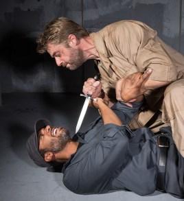 Jamison Jones (w/dagger) as Macbeth and AK Murtadha as Macduff 9/18/16 New Vic Theatre