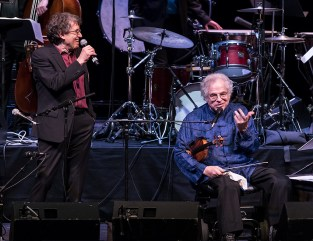 """Hankus Netsky and Itzhak Perlman making with jokes - """"In the Fiddler's House"""" 20th Anniversary concert- UCSB Arts & Lectures 1/23/17 The GranadaTheatre"""