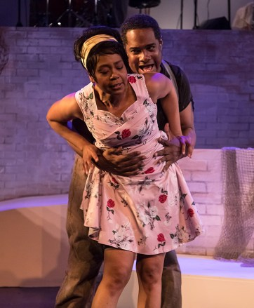 "Karole Foreman (Bess) and K.B. Solomon (Crown) in Ensemble Theatre Company's ""Porgy and Bess"" 2/8/17 the New Vic Theatre"