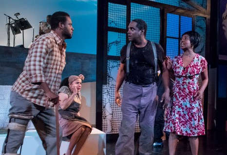 """Elijah Rock (Porgy), Peggy Blow (Mariah) , K.B. Soloman (Crown) and Karole Foreman (Bess) in Ensemble Theatre Company's """"Porgy and Bess"""" 2/8/17 the New Vic Theatre"""