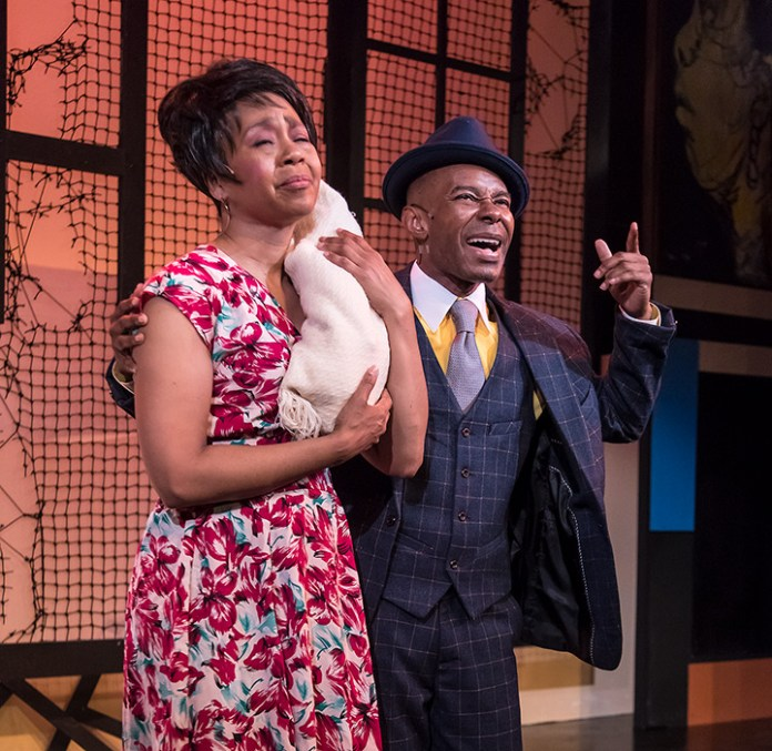"Karole Foreman (Bess) and Frank Lawson (Sportin' Life) in Ensemble Theatre Company's ""Porgy and Bess"" 2/8/17 the New Vic Theatre"