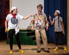 """Mac and 2 Wierd Sisters in Upstarts! Youth Theater's production of Emma Jane Huerta's """"Mabreath"""" 3/15/17 Peabody Charter School"""