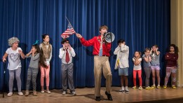 "Mac funs for the Pres in Upstarts! Youth Theater's production of Emma Jane Huerta's ""Mabreath"" 3/15/17 Peabody Charter School"