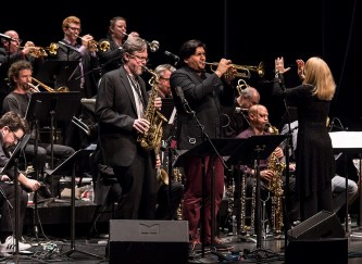 Saxaphonist David Pietro and trumpeter Mike Rodriguez with the Maria Schneider Orchestra at the Lobero Theatre 2/20/17