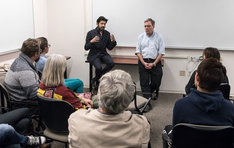 Dr. Siddhartha Mukherjee and UCSB Prof. Stephen Poole, chair of the UCSB Department of Molecular, Cellular and Developmental Biology 2/23/17 UCSB Life Sciences 4301