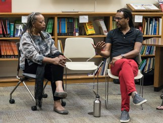 Sojourner Kincaid-Rolle moderates a Q & A with Colson Whithead 4/5/17 Santa Barbara Public Library