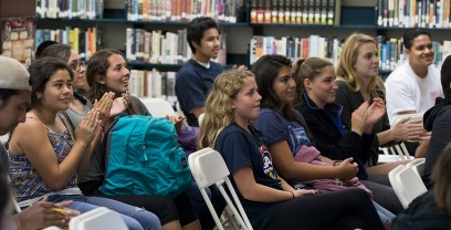 Santa Barbara High School students listening to author Luis Alberto Urrea - UCSB Arts & Lectures 4/24/17
