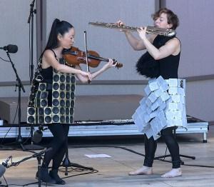 Pauchi Sasaki, violin and Claire Chase, bass flute - Ojai Music Festival 6/9/17 Libbey Bowl