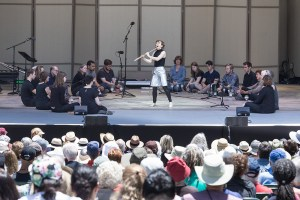 """Award-winning musician Claire Chase and audience members perform excerpts from Marcos Balter's """"Pan"""" - The Ojai Music Festival 6/9/17 Libbey Bowl"""