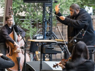 "Tyshan Sorey & ICE performing ""Autoschediasms for Creative Chamber Orchestra"" - the Ojai Music Festival 6/10/17 Libbey Bowl"