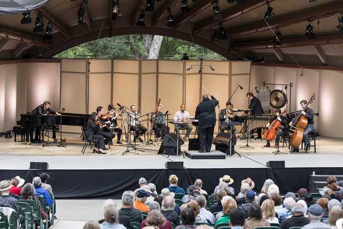 """Tyshan Sorey & ICE performing """"Autoschediasms for Creative Chamber Orchestra"""" - the Ojai Music Festival 6/10/17 Libbey Bowl"""