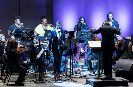 """Yet Unheard"" performed by solo soprano Helga Davis backed by soprano Joelle Lamarre, contralto Gwendolyn Brown, Tenor Julian Otis, baritone Davone Tines and ICE, conducted by Steven Schick - Ojai Music festival 6/10/17 Libbey Bowl"