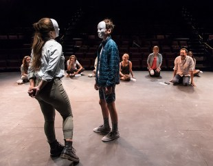 Working with masks in Ensemble Theatere Company Young Actors Conservatory with Education Director Marcus Giamatti 7/18/17 The New Vic Theatre