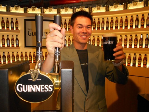 Pouring the perfect pint at the Guinness Storehouse