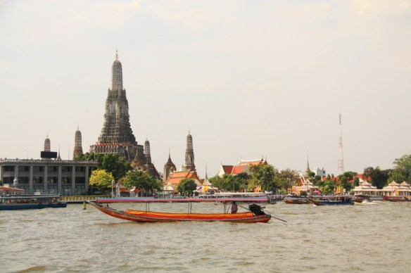 Enjoying the view of Wat Arun from the cafe.