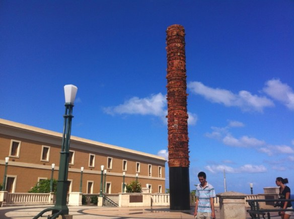 A 40 foot (12m) totem pole erected (no pun intended) in 1992 in celebration of American Indians.