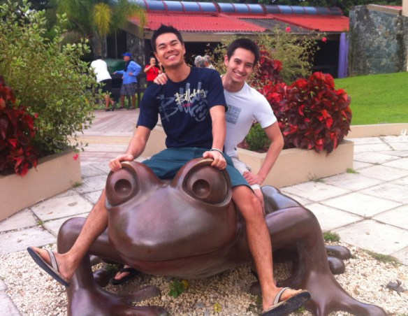 Bro-ing out on a frog statue, NBD.