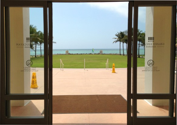 The first glimpse of the sea from the lobby.