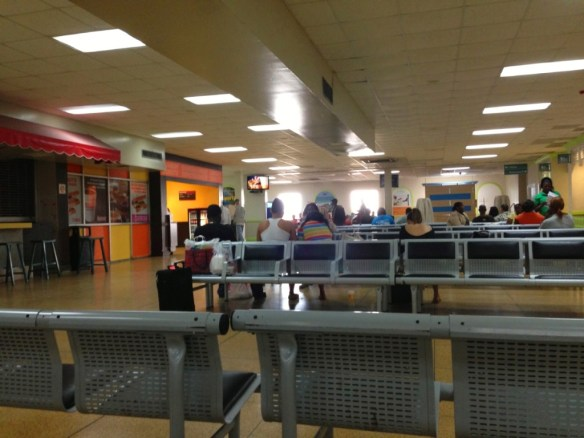 The domestic departure lounge of Nassau's airport.