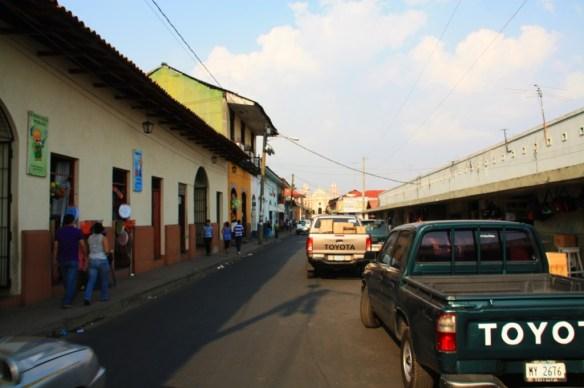 Iglesia de La Recoleccion at the end of the street.