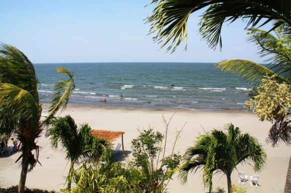 View of the beach from Hotel Villa Paraiso.