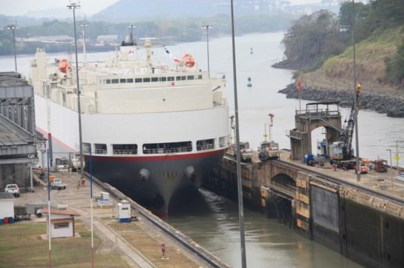 A ship entering the lock.