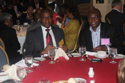 MD Bola Akindele and Deputy Managing Director Wale Sonaike at the Jamaica Stock Exchange Luncheon