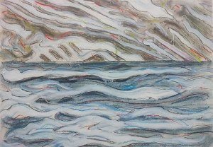 The Lake (mixed media on paper) and, on the right, David draws.