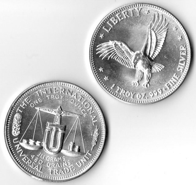 1 OZ .999 Fine Silver Liberty Flying Eagle International Universal Silver Trade Unit Round