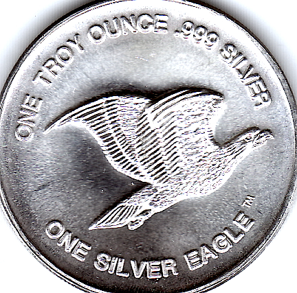 1 OZ .999 Fine Silver Flying Eagle International Trade Unit Round Face