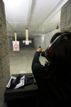 Jacqui firing the 9mm