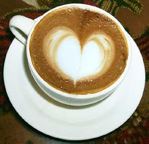 An image of a Cappuccino with a heart in the foam - Image from Google