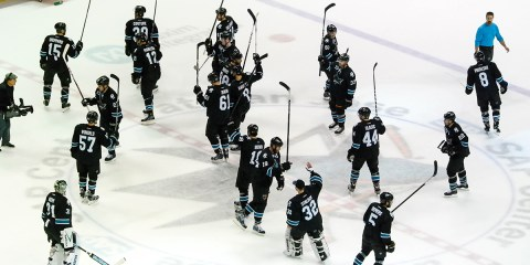 Sharks hockey fan salute