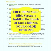 FREE Printable - Bible verses to instill in the hearts of our children