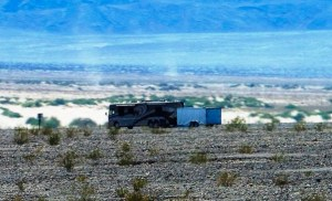 Dean snapped this shot of us in the valley with 2 dust devils beside us