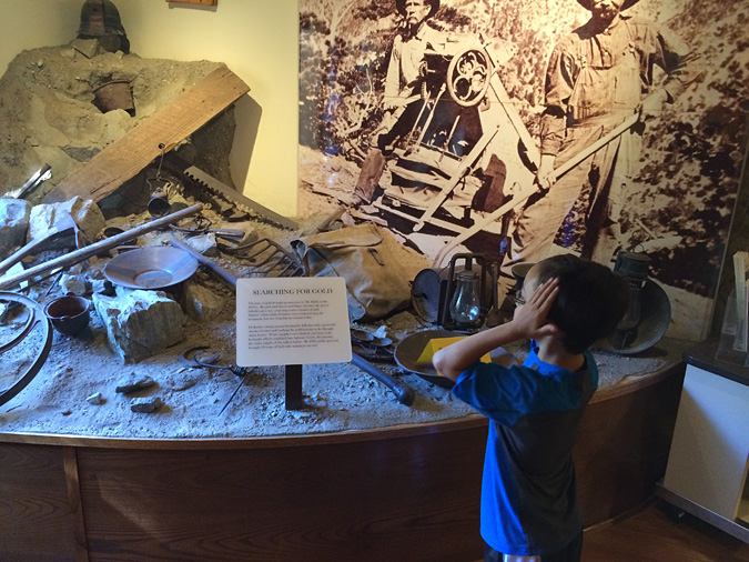 Enzo can't believe the amazing Mt Baldy visitor center gold mining display.